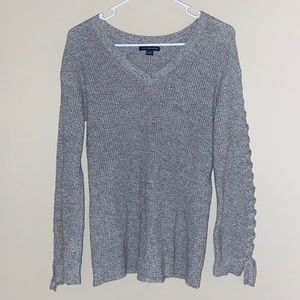 American Eagle Sweater with Lace-Up Sleeves